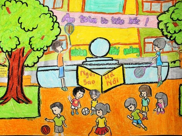 Vẽ tranh đề tài học tập vui chơi