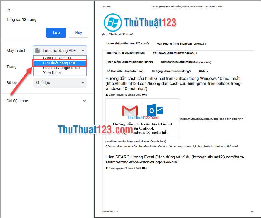 Chọn Lưu dưới dạng PDF