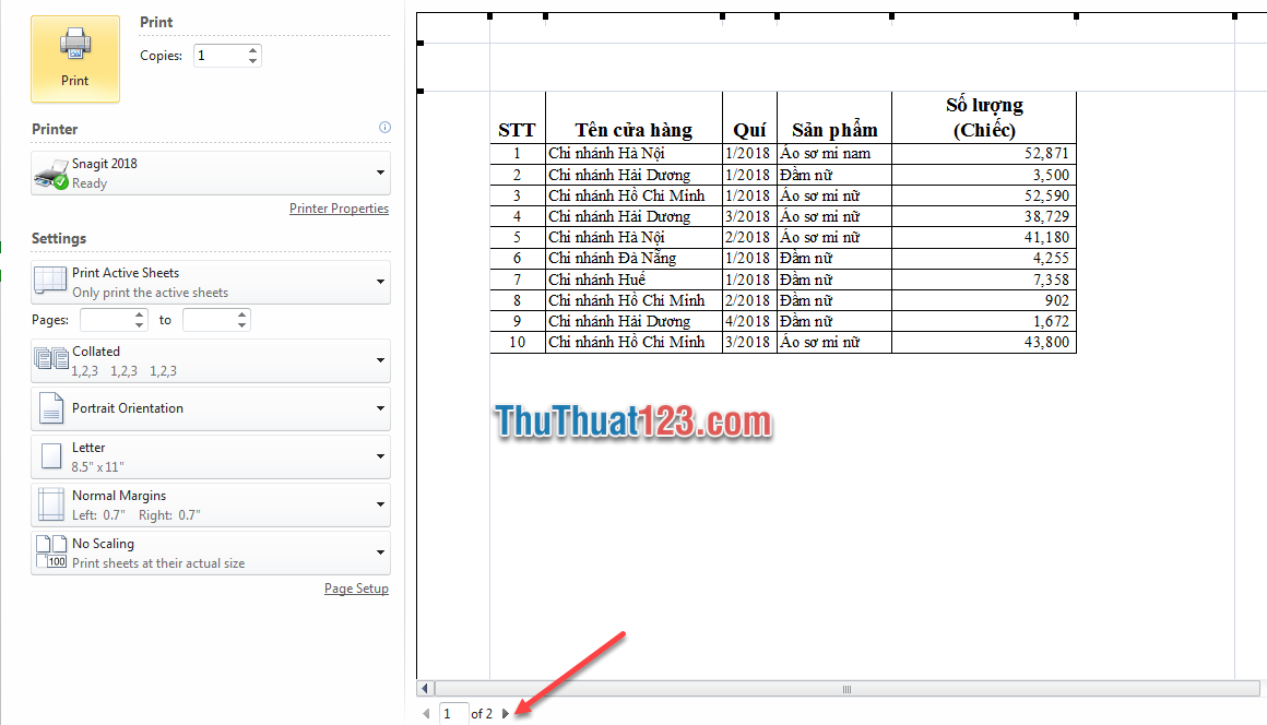 Sử dụng tổ hợp phím Ctrl và F2 để xem trước khi in 2