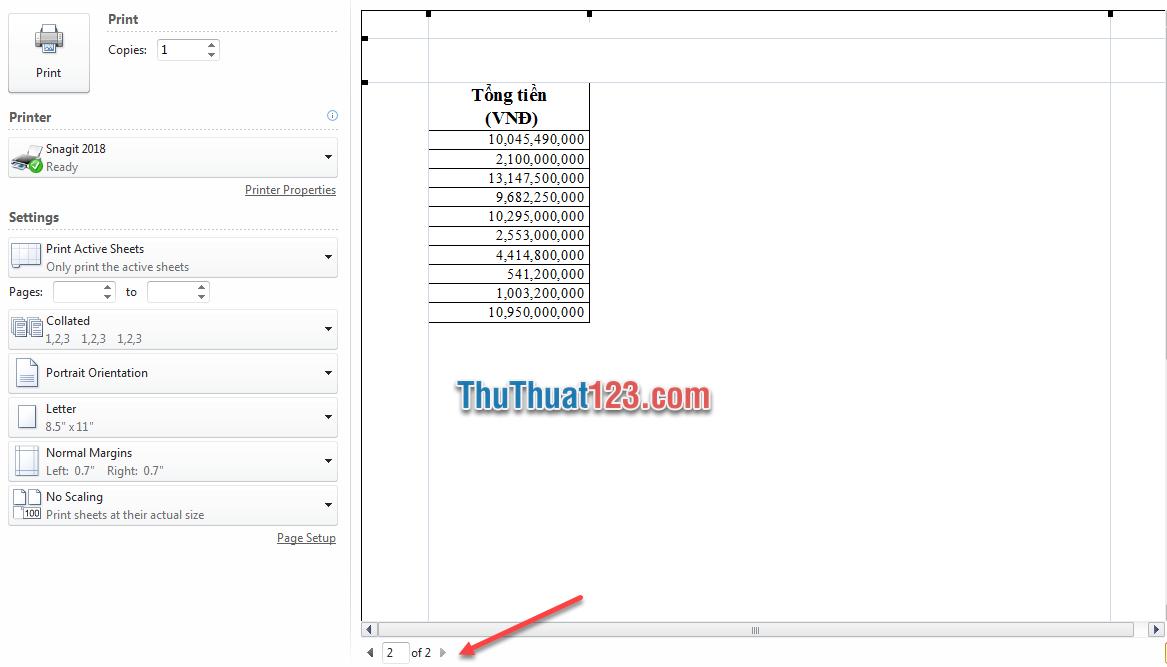 Sử dụng tổ hợp phím Ctrl và F2 để xem trước khi in 3