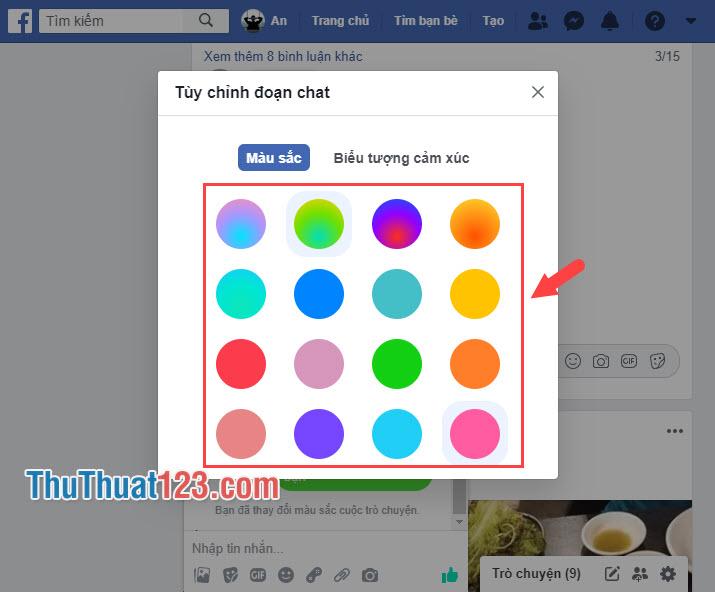 Chọn Màu sắc tin nhắn