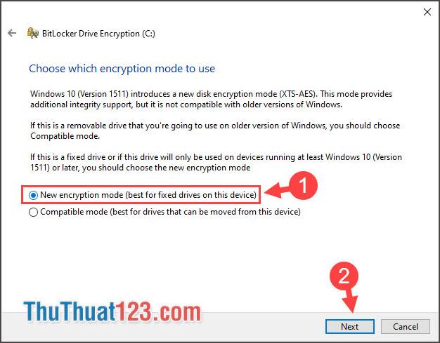 Chọn New encryption mode