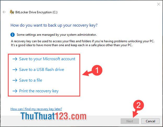 Chọn tùy chọn để lưu đoạn mã khôi phục BitLocker