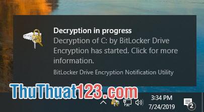Dòng trạng thái Decryption in progress