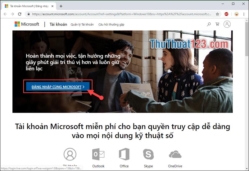 Chọn Đăng nhập cùng Microsoft