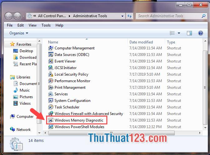 Mở Windows Memory Diagnostic