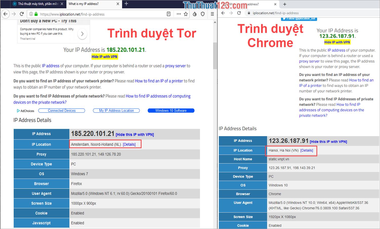 Những trang Web kiểm tra IP không thể chính xác trên trình duyệt Tor