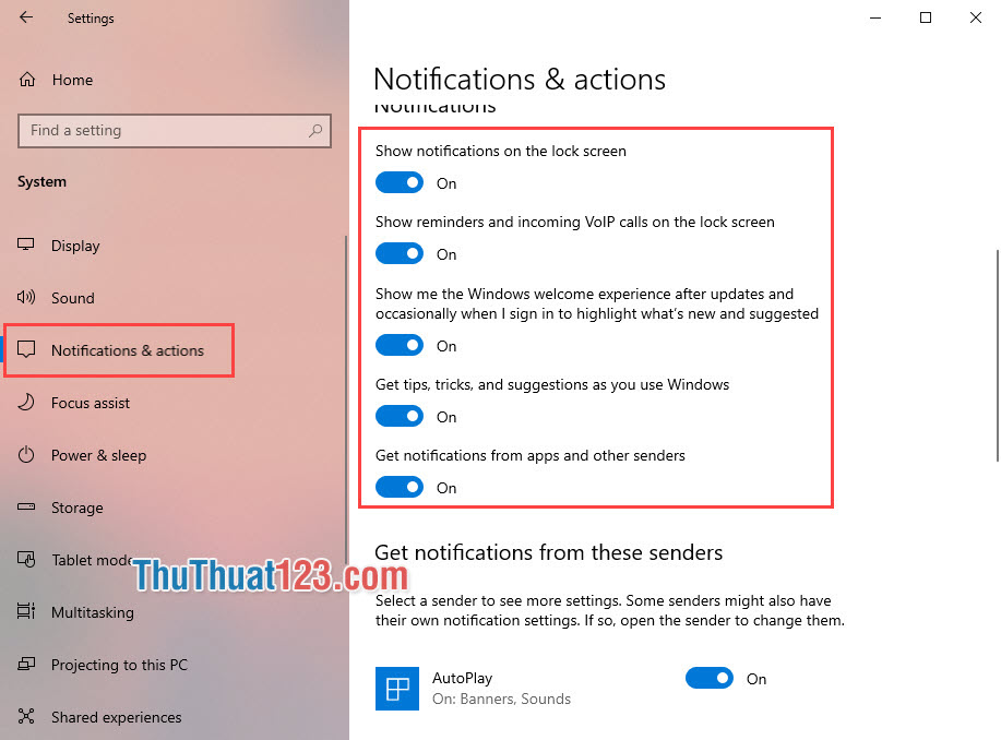 Cài đặt Notifications & actions