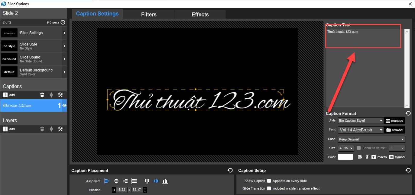 Font VNI có thể lỗi trong Caption Text nhưng không bị lỗi trên Slide