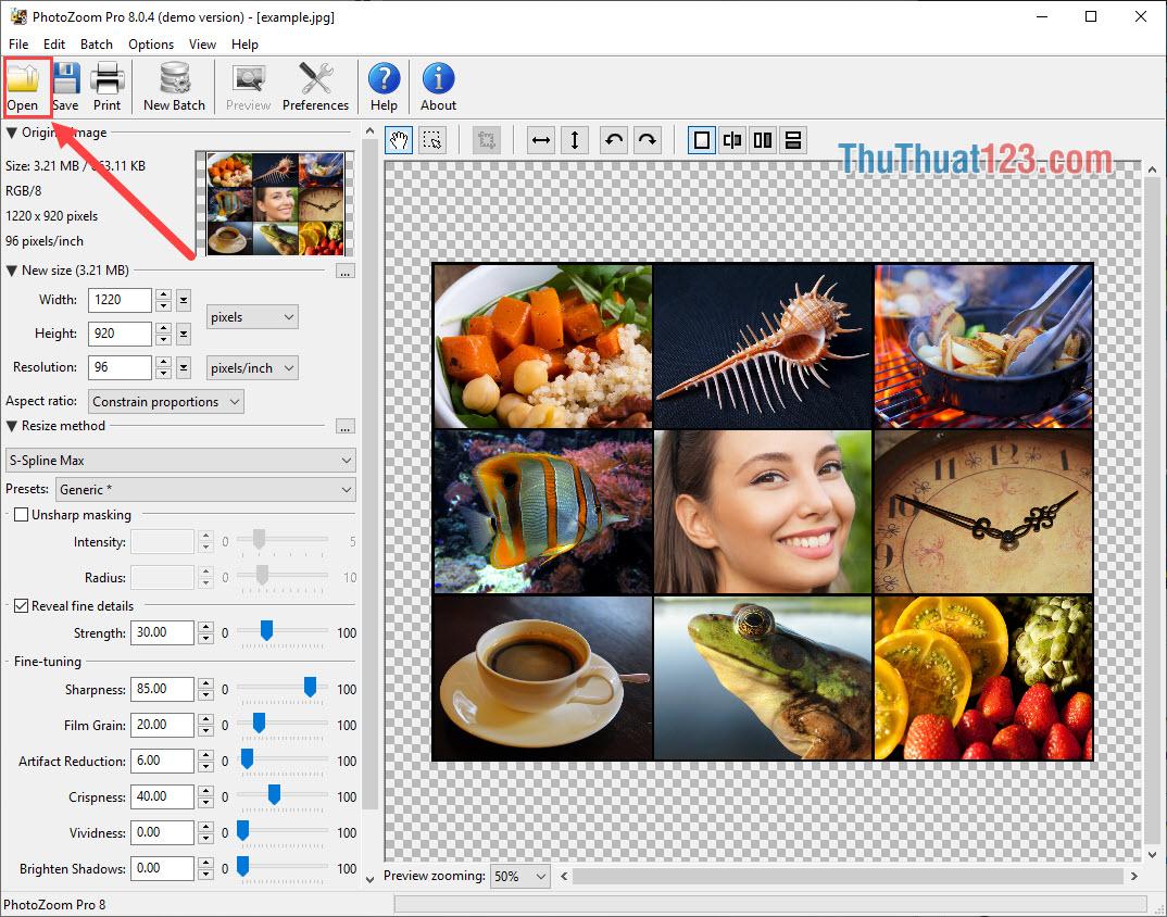 Chọn Open mở hình ảnh cần tăng độ phân giải