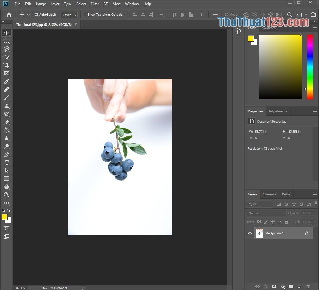 Mở hình ảnh muốn chỉnh sửa trong Photoshop