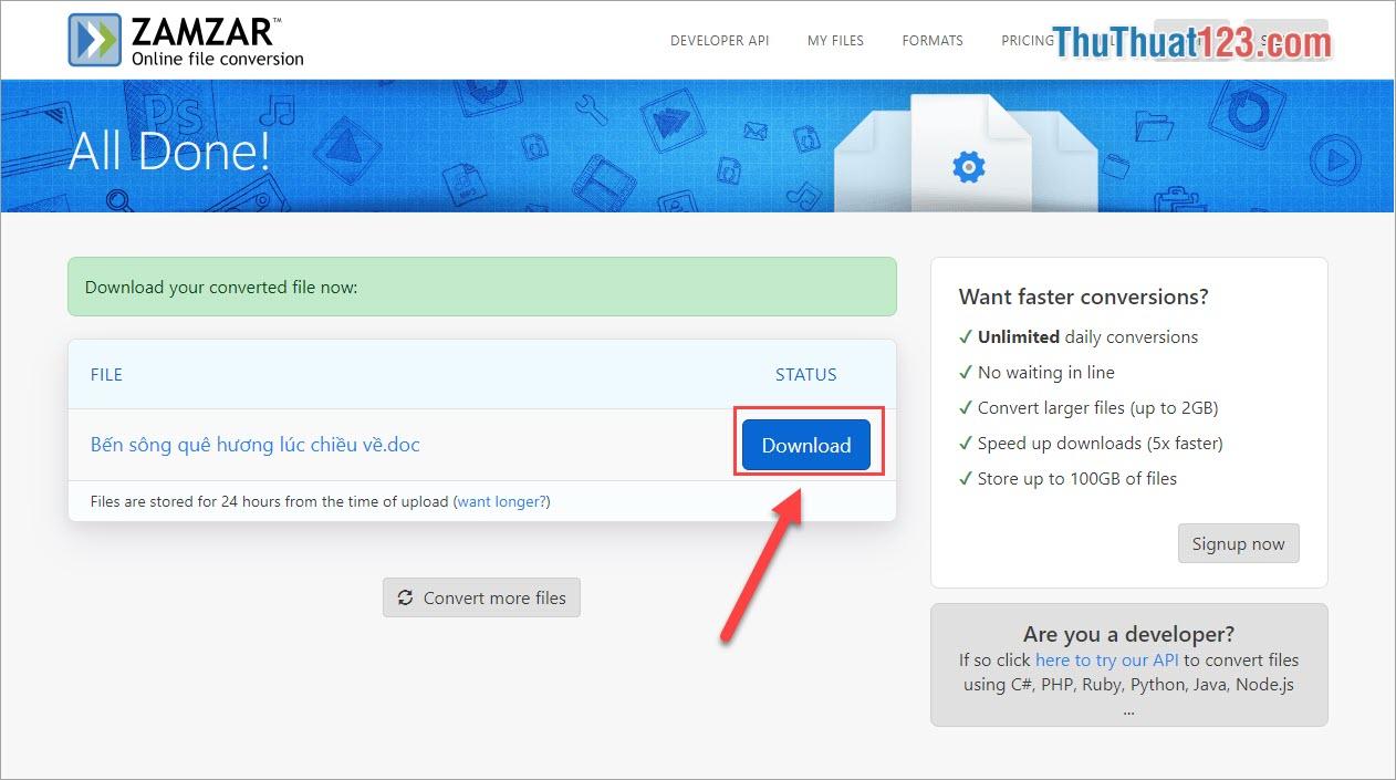 Nhấn Download để tải file được chuyển đổi về máy