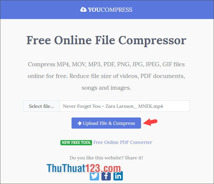Chọn Upload File & Compress
