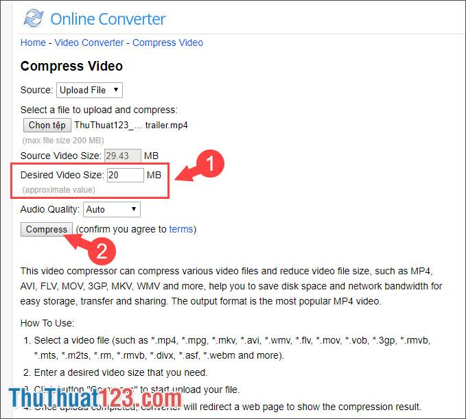 Click vào Compress để nén video