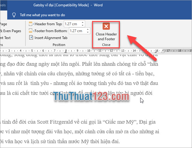 Chọn Close Header and Footer