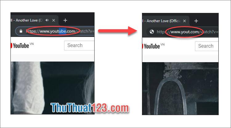 Click vào link xóa đi từ ube và nhấn Enter