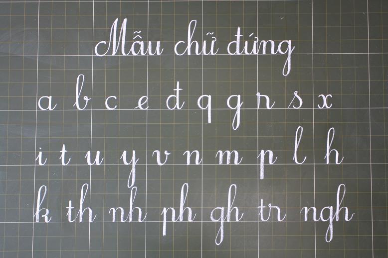 Mẫu bảng chữ cái tiếng Việt viết đứng