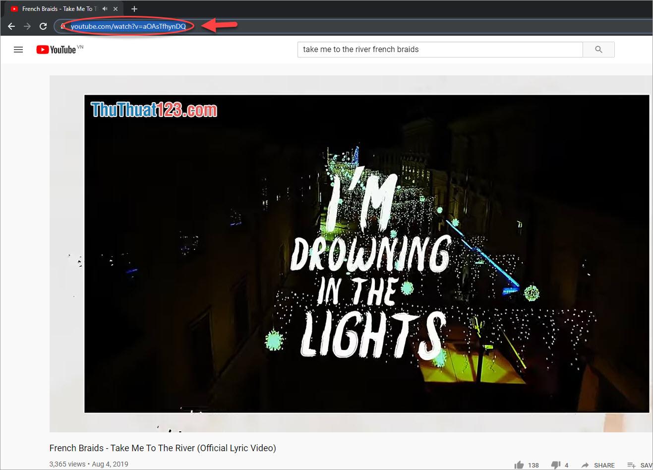 Tìm video cần tải mp3 rồi copy link
