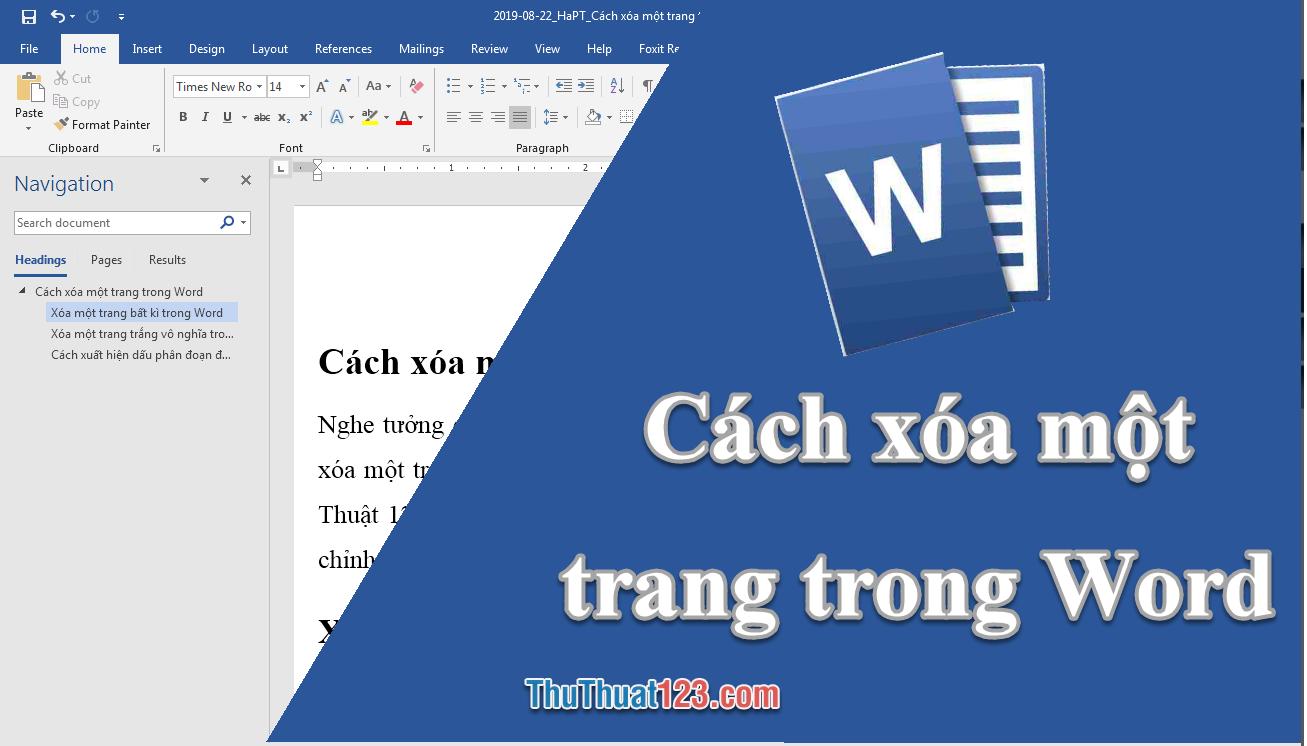 Cách xóa một trang trong Word