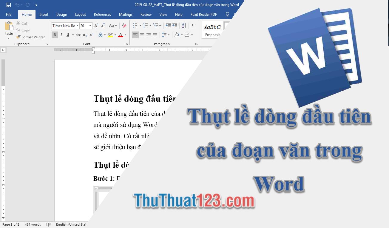 Thụt lề dòng đầu tiên của đoạn văn trong Word