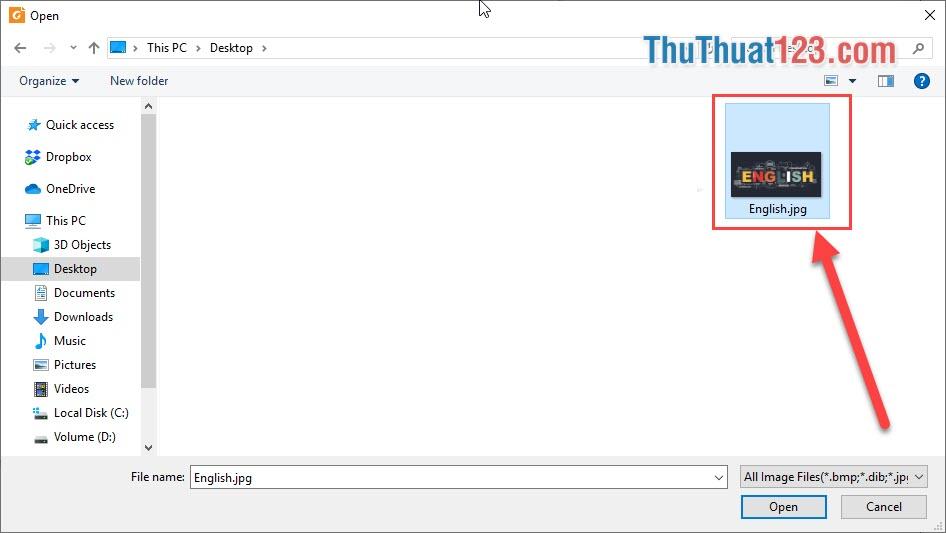 Chọn hình ảnh cần chèn vào file PDF