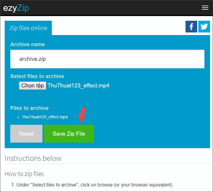 Chọn Save Zip File