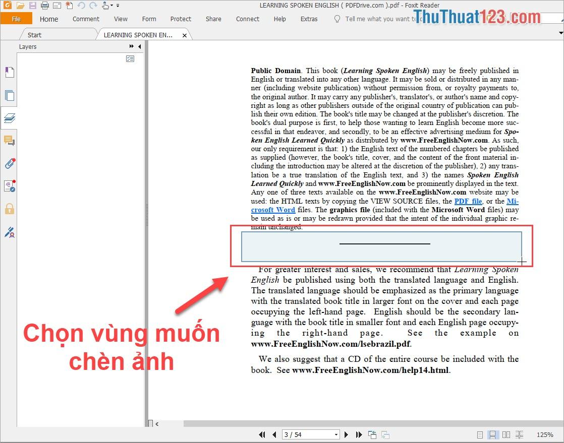 Kéo chọn một vùng trên file PDF để chèn hình ảnh vào