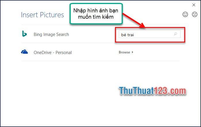Nhập nội dung ảnh muốn thêm vào ô tìm kiếm