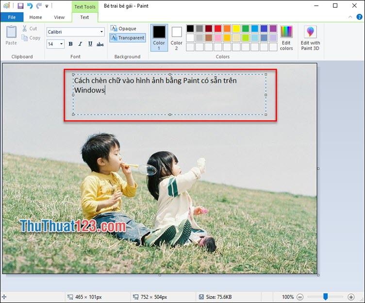 Nhập nội dung chữ bạn muốn thêm vào ô Text vừa tạo