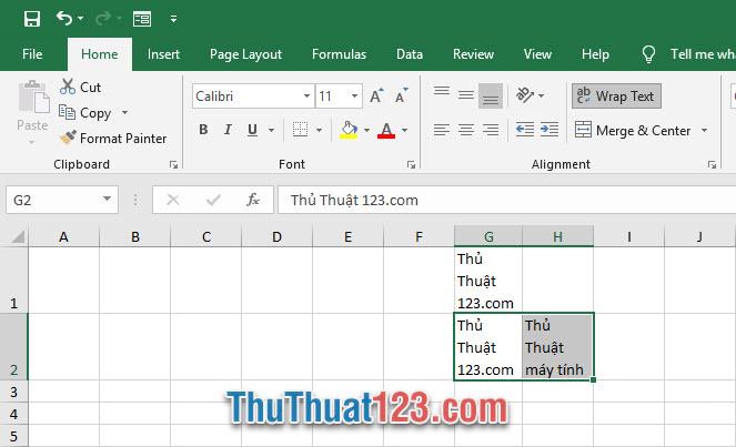 Bạn có thể lựa chọn nhiều ô cùng một lúc để tạo chức năng Wrap Text