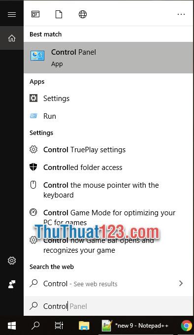 Nhập Control Panel trong mục tìm kiếm Windows